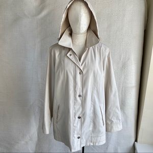 Nordstrom Waterproof Raincoat Detachable Hood Tan